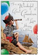 Pirate Great Grandson Birthday Card